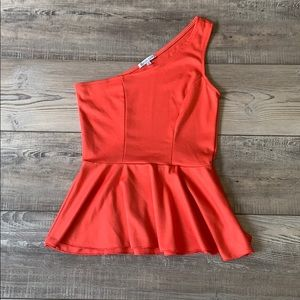 One shoulder coral peplum top size M